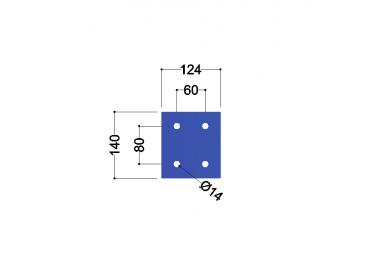 HE140A-B kopplaat: 140x124x10mm - 4x gat 14mm