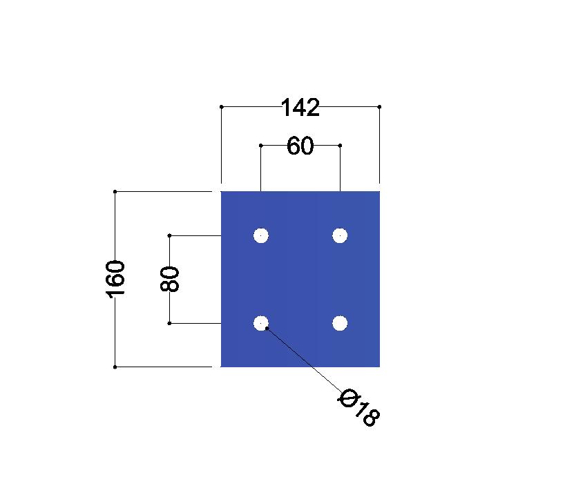 HE160A-B kopplaat: 160x142x10mm - 4x gat 18mm
