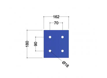 HE180A-B kopplaat: 180x162x10mm - 4x gat 18mm