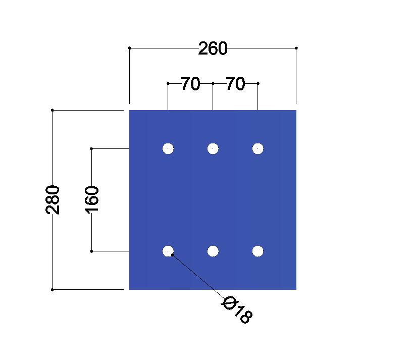HE280A-B kopplaat: 280x260x12mm - 6x gat 18mm