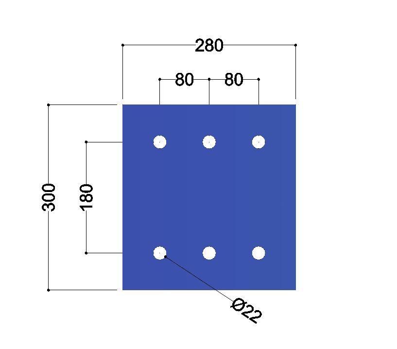 HE300A-B kopplaat: 300x280x12mm - 6x gat 22mm