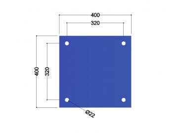 HE240A voetplaat universeel: 400x400x12mm - 4x gat 22mm