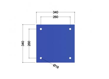 HE180A-B voetplaat universeel: 340x340x10mm - 4x gat 18mm