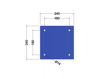 HE100A-B voetplaat universeel: 240x240x10mm - 4x gat 14mm