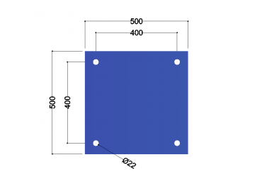HE300A-B voetplaat universeel: 500x500x12mm - 4x gat 22mm